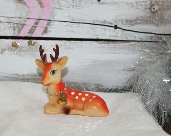 Vintage laying reindeer orange/red blue eyes