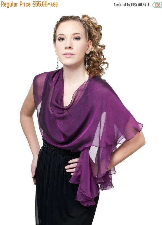 Promo Sale: Royal purple fluttering scarf /wrap in iridescent silk chiffon