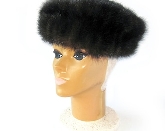 Vintage Dark Brown Black Mink Fur Hat / Winter Hat / Russian Cossack Hat / Dr Zhivago Style / Warm Winter Fur Hat from Russia / With Tags