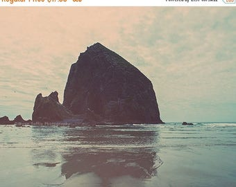 SALE beach art, Cannon Beach photography print, Haystack Rock photo, Oregon coast art, blue baby nursery decor, seascape print, Myan Soffia