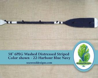 "58"" 6PEG Washed Distressed Striped Paddle Rack in many colors / Nautical Nursery Hat Coat Rack / Rustic Canoe Paddle Oar / Lake Decor"