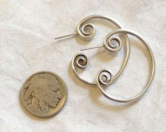 HOOP EARRINGS, Sterling Silver, Stylised Hoops, Post Earrings for Pierced Ears, Great Condition, New Backs!