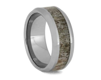 Deer Antler Wedding Band, Beveled Tungsten Ring Inlaid With Naturally Shed Antler, Men's Hunting Jewelry