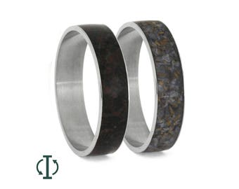 Crushed Dinosaur Bone Inlay Components For Interchangeable Titanium Wedding Bands, Adjustable Dinosaur Bone Rings, Fossil Jewelry