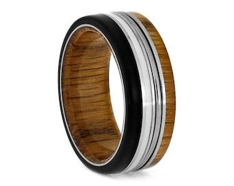 Piano String Ring, Oak Wood Wedding Band With Ebony Wood And White Enamel, Music Gift