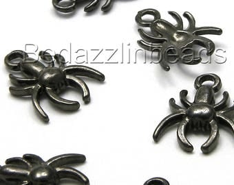 10 Gunmetal Black 17mm Long Metal Spider Dangle Charms With Loop