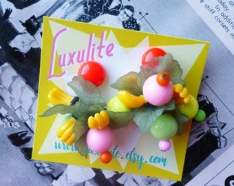 Tutti Fruitti! Novelty colourful Carmen Miranda large fruit cluster earrings by Luxulite