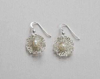 Sterling Silver Wire & Freshwater Pearl Earrings - T3 - P5