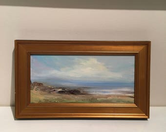 Framed Beach Painting -A Peaceful Place- Oil Painting- 6 x 12- Stretched Linen-  Gold Custom Framed