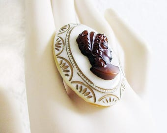 Oval Shaped Ring, Amber Colored, Porcelain, Off White, Victorian Woman, Handmade, Adjustable, Gold Etchings, Adjustable Ring