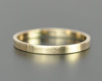 Matte Finish Yellow Gold Wedding Band, 14K Solid Gold Ring, 2x1mm Flat Edge Style