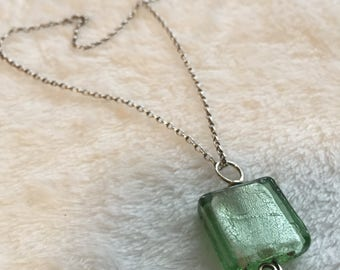 "Glass Pendant & 17"" Sterling Silver Chain"