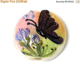ON SALE 35% OFF Pink Sparkle Garden Butterfly Lentil Focal Bead - Handmade Glass Lampwork Bead 11834802