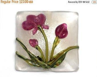 ON SALE 30% off Fuchsia Flower Pillow Focal Bead - Handmade Glass Lampwork Bead 11832004