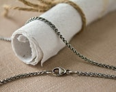 Thin 1.7mm Oxidized Argentium Silver Wheat Chain, Adjustable Between 16, 17, and 18 inches - Custom Order