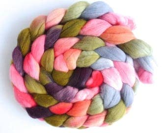 Dried Carnations, Targhee Wool Roving - Hand Painted Spinning Fiber