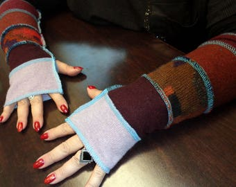 Arm warmers, fingerless gloves,upcycled  lambswool+merino wool gloves, handmade fingerless gloves warm, soft, eco friendly bright fun colors
