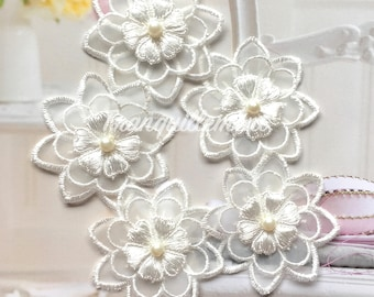 5 Small Off White Organza 3 Layers Floral Flower Faux Pearl Wedding Cocktail Dress Gown Hair Craft Sew On Appliques Embellishment Decoration