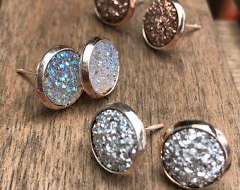 druzy earring set, post earrings, stud earring, Druzy earrings, bridemaid earrings, boho jewelry, graduation gift, jewelry set, earrings