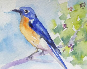 original watercolor painting ACEO blue bird,2.5x3.5 inches