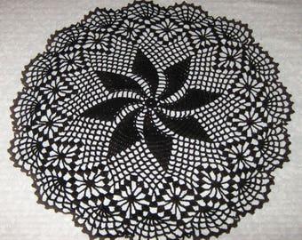 "Crochet Doily, 16"", Round, Black, round, pinwheel design"