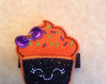 Orange & Black Felt Halloween Cupcake Hair Clip, Cupcake Hair Clip, Toddler Hair Clippie, Girls Hair Clip, Hair Bows, Halloween Item 16-269