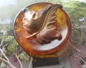 Vintage Button 1  Lucite, with antique bronze leaf metal design and tortoishell large ( Aug 111 17)
