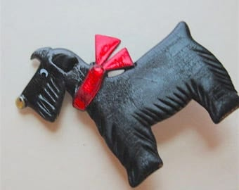 Scottie Dog With Red Bow Pin Brooch