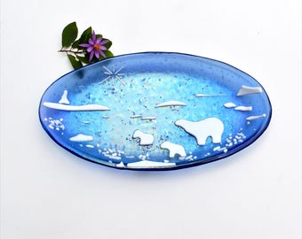 Fused glass dish with dichroic specks, plate, with white polar bears, oval, home decor, glass ware,  blue and white, irridized