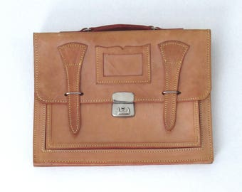 Hand made vintage natural saddle tan leather briefcase