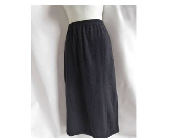 Angora Sweater Skirt Size 1+ Black Pencil Womens Outlander Lambswool 90s