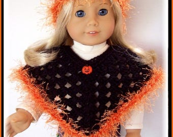 Halloween Sparkle, Fits American Girl Dolls, Poncho and Hat Set, 18 Inch, Hand Crochet