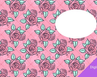 Insert Cover B6 Digital One Page Roses Pink