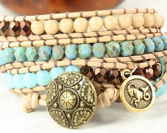 Capricorn Bracelet, Star Sign Jewelry, December Birthday, Boho Wrap Bracelet, Astrological Signs, Zodiac Jewelry, Horoscope Bracelet