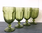 vintage green glasses - Libbey Gibraltar Duratuff - pedestal water goblet - jewel tone boho wedding - Set of 4