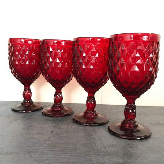 red diamond cut glasses - ruby wine goblets - cranberry jewel tone holiday stemware - wedding table decor - Set of 4