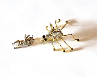Vintage Insect Pins - Set of Two - Spider and Ant