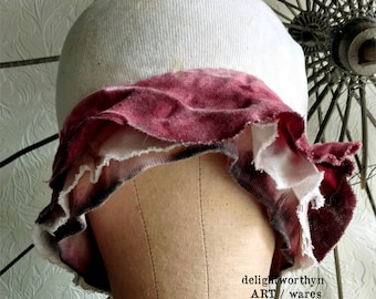 Purple Ruffle Cotton Cloche Hat