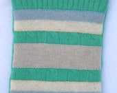 Jade green stripey recycled sweater wallet, iphone case, pouch, felted bag, wool bag - wantknot shop