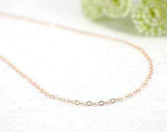"1.3mm 14k rose gold filled thin flat cable chain 16 18 20 inch "" finished necklace chain spring ring clasp delicate 41 to 51 cm single 1 pc"