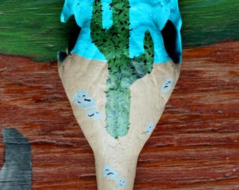 Armadillo rattle - hand-painted real armadillo skull with desert cactus motif for rituals, music and more