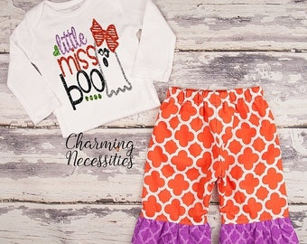 SALE NEW Fall Halloween Outfit, Baby Toddler Girl Clothes, Top Ruffle Pants Set, Little Miss Boo Charming Necessities Orange Purple