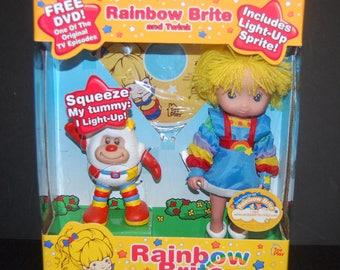 NEW Rainbow Brite Doll & Twink Light up Sprite plus DVD Toy 2003 NIB