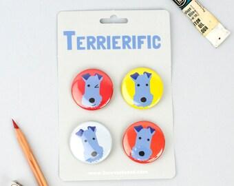 SECONDS SALE - Dog Badges - Terrier Badges - Dog Pins - Gift for Dog Lover - Terrier Gift - Terrier Pins - Dog Owner Gift