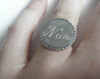 """""""No"""" silver plated ring"""
