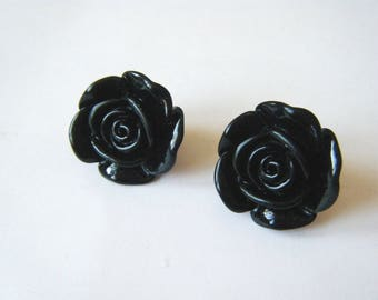 Clip earrings ♥♥♥♥ ♥ ♥ black Roses