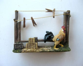 Barnyard Rooster Resin Tabletop Scene