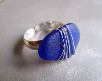 Sea Glass Ring - Cobalt Blue - Beach Glass Ring - Beach Glass - Beach Glass Jewelry - Ocean Jewelry Gifts of the Sea - Pure Sea Glass