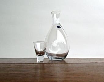 Ronald Stennett-Willson Designed Crystal Thumb Carafe for Björkshult, 1960s Modern Scandinavian Glass