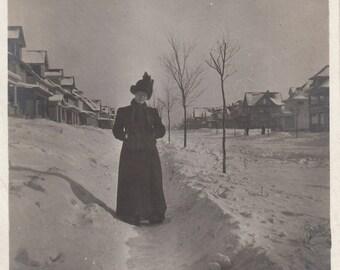 Original Vintage Photograph Snapshot Woman Posing on Snowy Sidewalk 1900s-10s